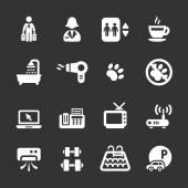 Hotel service icon set 7, white version, vector eps10 — Stock Vector