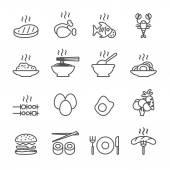 Food icon set, line version, vector eps10 — Stock Vector