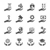 Business and finance hand icon set 2, vector eps10 — Stock Vector