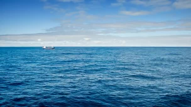 Un barco de pesca, pasando por un crucero en el océano Atlántico — Vídeo de stock