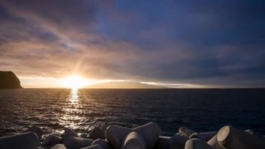Sunrise between Faial and Pico islands in the Azores — Stock Video