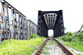 Line of railway crossing in rural of Thailand. — Stock Photo