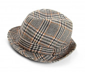 Grey checked trilby hat isolated on a white — Stock Photo