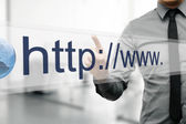 Internet address in web browser on virtual screen — Stock Photo