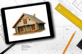 Digital tablet, tools and architect draft on the table — Stockfoto
