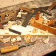 Workshop with old work tools on the table — Zdjęcie stockowe #59441327