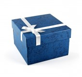 Blue gift box with ribbon bow isolated on white — Stock Photo