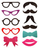 Party accessories, eyeglasses, mustache, isolated on white — Stock Photo