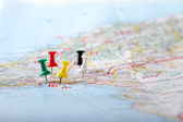 Travel destination points on a map — Stock Photo