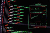 Website development - programming code and wireframe on computer — Stock Photo