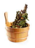Sauna accessories - bucket with birch broom isolated on white — Stock Photo