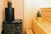 Sauna interior with accessories — Stock Photo