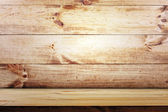 Empty shelf on wooden wall background. wood texture — Stock Photo