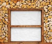 Empty wooden shelves with firewood decoration — Stock Photo