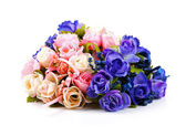 Colorful rose bouquet isolated on white — Stock Photo
