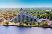 Aerial view of Latvian national library — Stock Photo