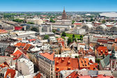Aerial view of Riga old town and city — Stock Photo