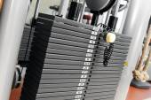 Weight stack in a gym — Stock Photo