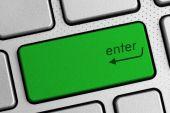 Secure internet concept - green enter keyboard button — Stock Photo