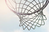 Closeup of outdoor basketball hoop net — Stock Photo