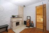 Interior shot of sauna lounge — Stock Photo