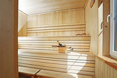 Classic style wooden sauna interior — Stock Photo