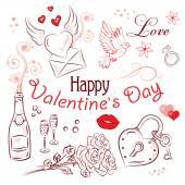 De dag van valentijnskaarten set — Stockvector