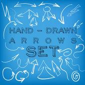 Set di frecce disegnata a mano. — Vettoriale Stock