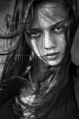 Black and white fashion women face portrait — Foto Stock