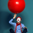 Funny mime with red baloon — Stock Photo #74949703