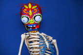 Skeleton in multi-colored mask zombies on blue background. — Stock Photo