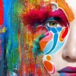 Close up portrait of woman color face — Stock Photo #78872042