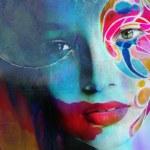 Close up portrait of woman color face — Stock Photo #78872246