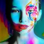 Close up portrait of woman color face — Stock Photo #78872404
