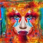 Close up portrait of woman color face — Stock Photo #78872674