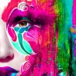 Close up portrait of woman color face — Stock Photo #78872706