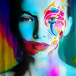 Close up portrait of woman color face — Stock Photo #78872850