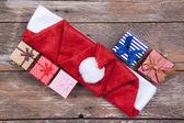 Gifs and santa hat — Stock Photo