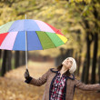 Girl with multicolored umbrella checking if its raining — Stock Photo #58806673