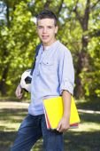 Portrait of a teenager at school park — Stock Photo