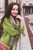 Beautiful modern woman with long brown hair — Стоковое фото