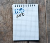 2015 year sign and June month symbol — Foto Stock