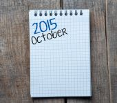 2015 year sign and October month symbol — Stock Photo