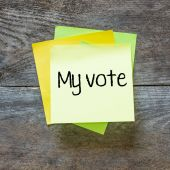 A sticky notes  with the words my vote — Stock Photo