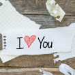 Text I love you on short note — Stock Photo #52999077