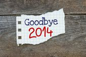 Goodbye 2014 written on the paper — Stockfoto