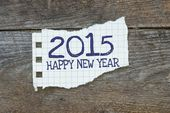 2015, Happy New Year written on the paper — Stock Photo