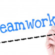 Hand writing Teamwork with blue marker — Stock Photo #53328897