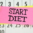 The phrase Start Diet written on sticky paper note — Stock Photo #53358965