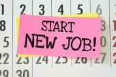 Hand written reminder to Start New Job — Stock Photo